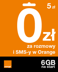 Starter: 5 zł | 0 zł za rozmowy i SMS-y w Orange | 6 GB na start
