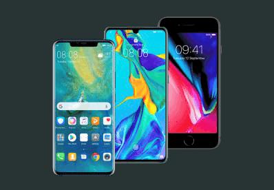 Smartfony Huawei P30, iPhone 8 64GB, Huawei Mate 20 Pro